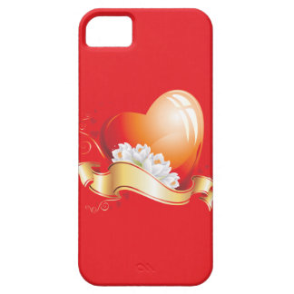 Heart and Flowers on Red iPhone 5 Cases