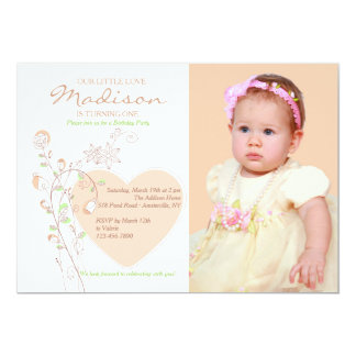 Heart and Flowers Photo Invitation
