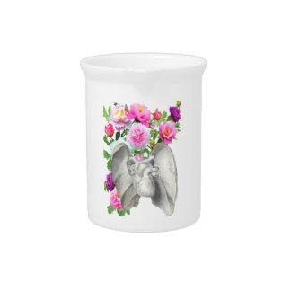Heart  and flowers vintage design drink pitcher