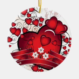 Heart and Full of Love in Valentines Ceramic Ornament