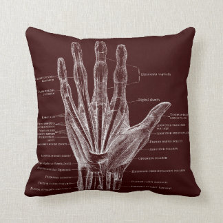 heart and hand - anatomy throw pillow
