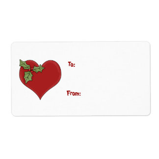 Heart and Holly Gift Label