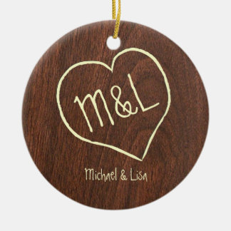 Heart and Initials on faux redwood pattern Double-Sided Ceramic Round Christmas Ornament