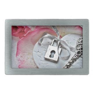 Heart And Key Rectangular Belt Buckle