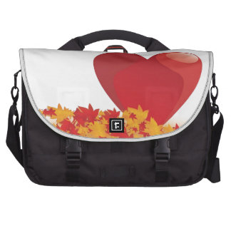 Heart And Leaves With Autumn Love Laptop Messenger Bag