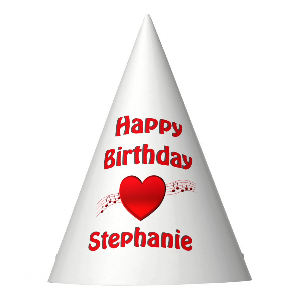 Heart and Music Birthday Party Hat