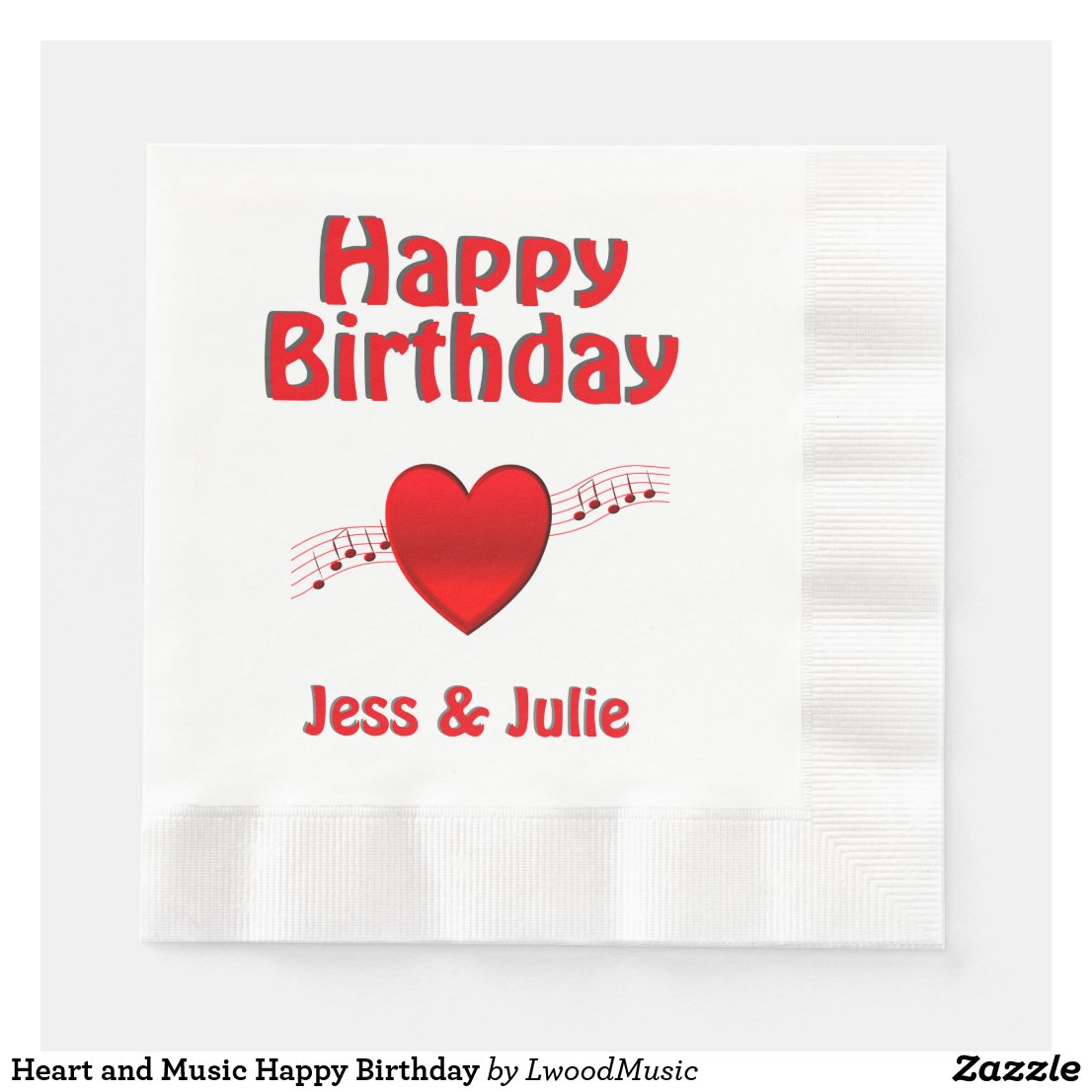 Heart and Music Happy Birthday Napkin