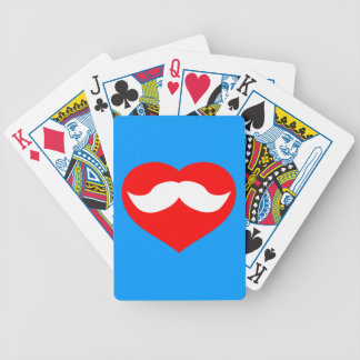 Heart and Mustache Bicycle Playing Cards