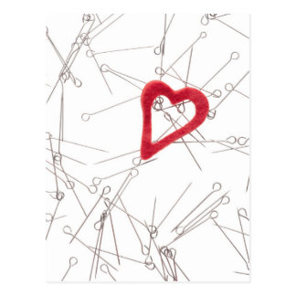 Heart and needles postcard