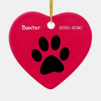 Heart and Paw Dog Memorial Christmas Ornament