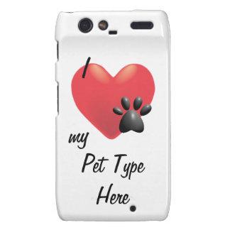 Heart and Paw I Love My Pets Motorola Droid RAZR Case