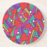 Heart and Rainbow Pattern Beverage Coasters