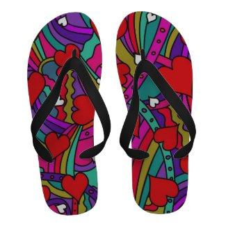 Heart and Rainbow Pattern Flip Flops