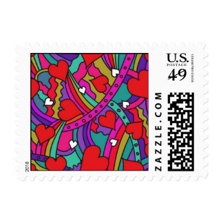 Heart and Rainbow Pattern Postage Stamp