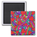 Heart and Rainbow Pattern Refrigerator Magnet