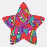 Heart and Rainbow Pattern Star Sticker