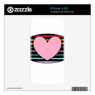 Heart and rainbow striped iphone case skin for iPhone 4