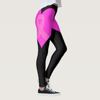 Heart and Ribbon Breast Cancer Charity Design Leggings
