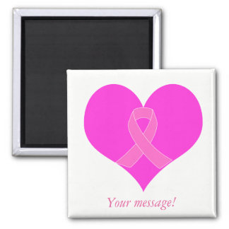 Heart and Ribbon Breast Cancer Charity Design Magnet