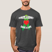 Heart and Ribbon Kidney Donation Awareness T-Shirt