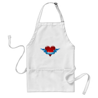 Heart and ribbon remix love adult apron