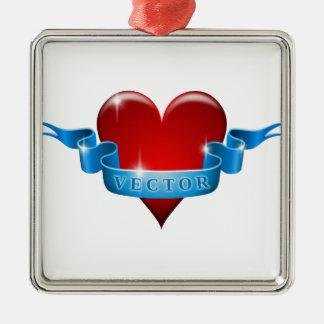 Heart and ribbon remix love ornament