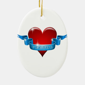 Heart and ribbon remix love christmas ornament