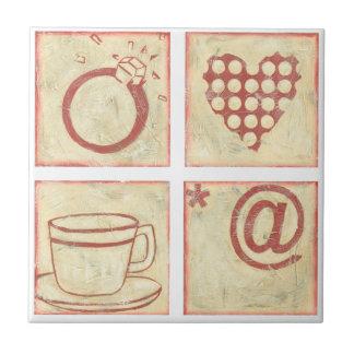 Heart and Ring Woodblock Drawings Ceramic Tile