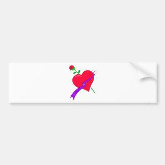heart and rose car bumper sticker