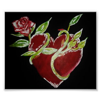 Heart and Rose Print