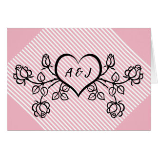Heart and Roses Initial Valentine Day Card