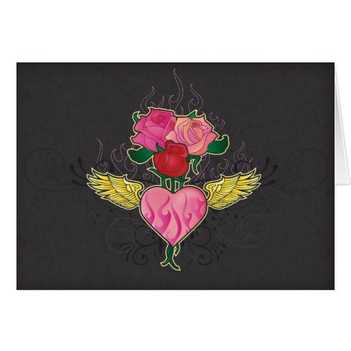 Heart and Roses Notecard Stationery Note Card
