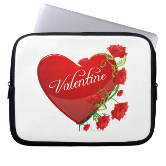 Heart and Roses Valentine Computer Sleeve