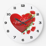 Heart and Roses Valentine Wall Clocks
