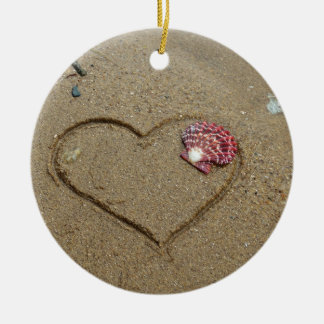 heart and shell on beach ceramic ornament