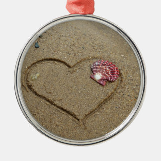 heart and shell on beach metal ornament