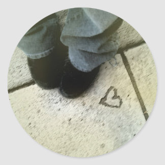 heart and shoes round sticker