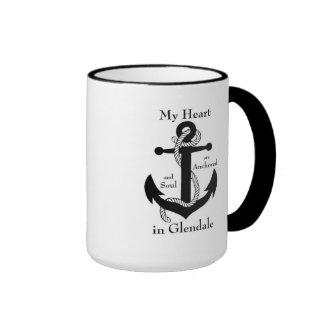 Heart and soul anchored in Glendale Ringer Coffee Mug