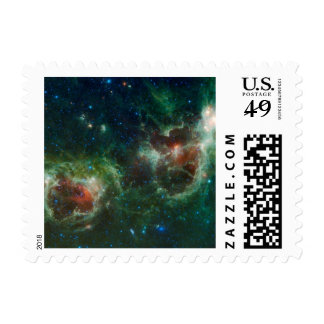 Heart and Soul nebulae infrared mosaic NASA Postage Stamps