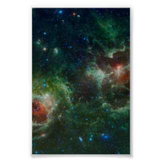 Heart and Soul nebulae infrared mosaic NASA Poster