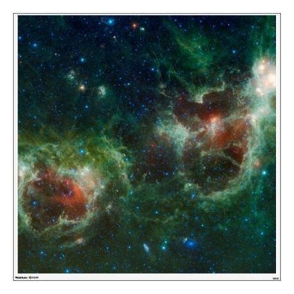 Heart and Soul nebulae infrared mosaic NASA Wall Graphics