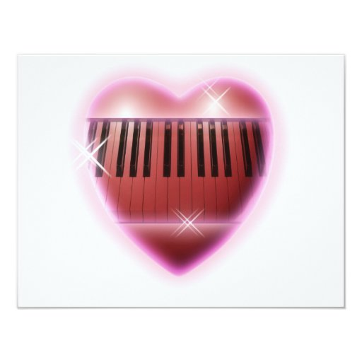 Heart and Sparkles Piano Keyboard 4.25x5.5 Paper Invitation Card