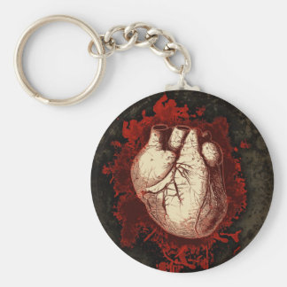 Heart and Spatter Basic Round Button Keychain