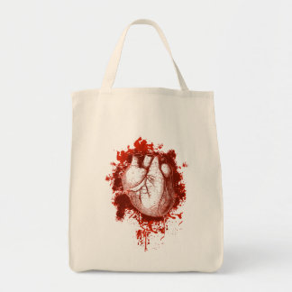 Heart and Spatter Grocery Tote Bag