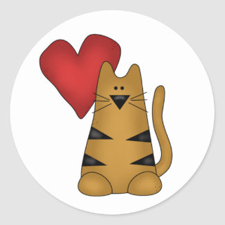 Heart and Striped Cat Classic Round Sticker