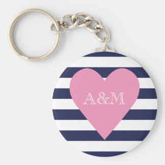 Heart and Stripes Engaged Basic Round Button Keychain