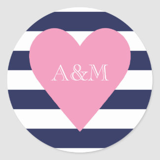 Heart and Stripes Engaged Classic Round Sticker