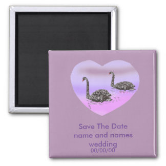 Heart and swans Save The Date fridge Magnets