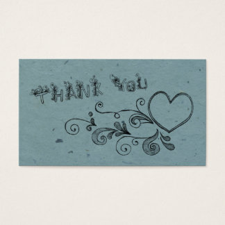 Heart and swirl thank you business card