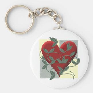 Heart and Vine Basic Round Button Keychain